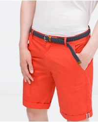 Zara | Red Shorts With Belt for Men | Lyst