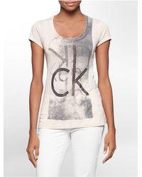 Calvin Klein - Pink Jeans Stud Logo Cotton Blend Short Sleeve Top - Lyst