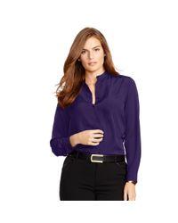 Ralph Lauren - Purple Crepe De Chine Bib-front Shirt - Lyst