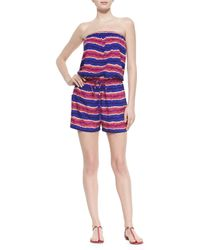 Tommy Bahama - Blue Striped Strapless Bandeau Drawstring Jumpsuit Coverup - Lyst