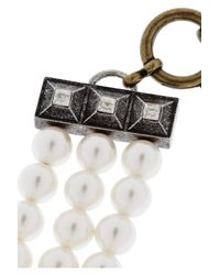 Lanvin - White 22 Faubourg Alice Goldtone Glass Pearl Necklace - Lyst
