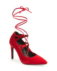 Jeffrey Campbell | Red 'brielle' Lace-up Pump | Lyst