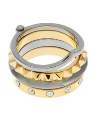 Trina Turk | Metallic Two-toned Stackable Rings | Lyst