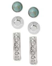 Kenneth Cole | Metallic Turquoise Bead And Stick Stud Earring Set | Lyst