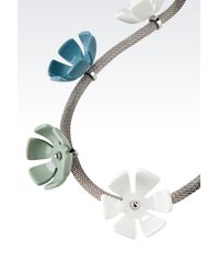 Emporio Armani - Green Metal Necklace with Resin Flowers - Lyst