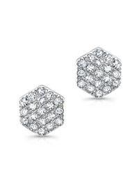 Anne Sisteron | 14kt White Gold Hexagon Diamond Stud Earrings | Lyst