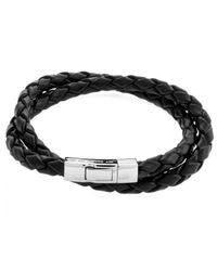 Tateossian - Double Wrap Scoubidou Black Leather Bracelet With Silver Clasp for Men - Lyst