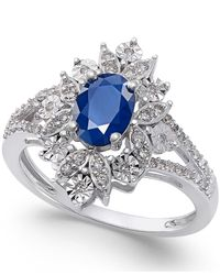 Macy's | Metallic Sapphire (1 Ct. T.w.) And Diamond (1/5 Ct. T.w.) Ring In 14k White Gold | Lyst