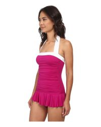 Lauren by Ralph Lauren - Pink Bel Aire Solids Shirred Bandeau Skirted Mio Slimming Fit One-piece - Lyst
