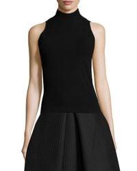 MILLY - Black Sleeveless Roll-Neck Sweater - Lyst
