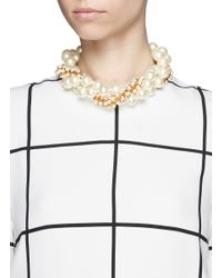 Kenneth Jay Lane | Metallic Large Pearl And Bead Multi Tier Necklace | Lyst