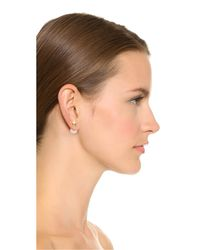 Kenneth Jay Lane - White Star Earrings - Polished Gold - Lyst