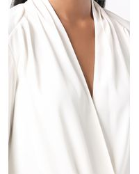 Bebe - White Long Sleeve Surplice Blouse - Lyst