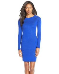 Marc New York | Blue Raglan Sleeve Body-con Sweater Dress | Lyst