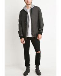 Forever 21 - Black Faux Leather Hooded Jacket for Men - Lyst