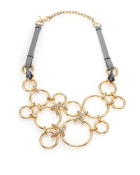Alexis Bittar - Metallic Miss Havisham Liquid Pavé Crystal & Leather Link Bib Necklace - Lyst