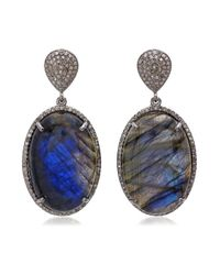 Bavna | Blue Sterling Silver Labradorite Cabachon And Diamond Drop Earring | Lyst