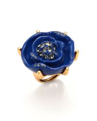 Oscar de la Renta | Blue Rose Cocktail Ring | Lyst