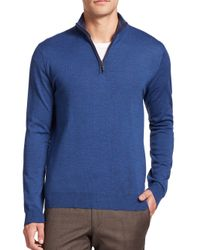 Saks Fifth Avenue | Blue Merino Wool Half-zip Sweater for Men | Lyst