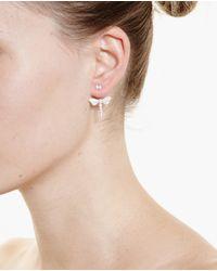 Yvonne Léon - White 18K Gold And Diamond Dragonfly Stud Earring - Lyst