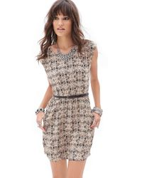 Forever 21 - Gray Belted Print Dress - Lyst