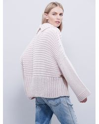Free People | Pink Split Turtleneck Pullover | Lyst
