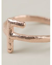 Bjorg - Metallic Alphabet F Ring - Lyst