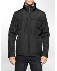 Calvin Klein - Black Nylon Zip Front Jacket - Lyst