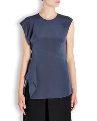 3.1 Phillip Lim | Blue Slate Grey Asymmetric Silk Top | Lyst