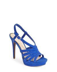 Jessica Simpson - Blue 'Peace' Suede Peep Toe Platform Sandal - Lyst