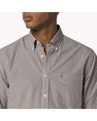 Tommy Hilfiger - Brown Cotton Check Fitted Shirt for Men - Lyst