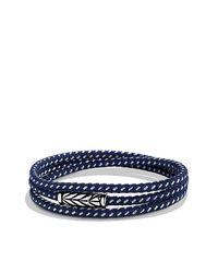 David Yurman - Chevron Triple-wrap Bracelet In Blue for Men - Lyst
