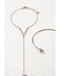 Forever 21 - Metallic Triangle Hand Chain Set - Lyst