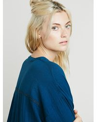 Free People | Blue Fp Collection Womens Embr Deep V Pocket Tunic | Lyst