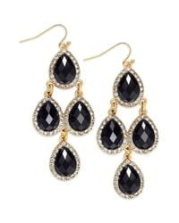INC International Concepts | 14k Goldplated Black Pave Teardrop Chandelier Earrings | Lyst