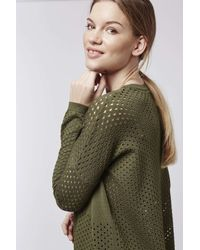 TOPSHOP - Natural Pointelle Panelled Top - Lyst