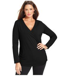 Michael Kors | Black Michael Plus Size Long-Sleeve Faux-Wrap Top | Lyst