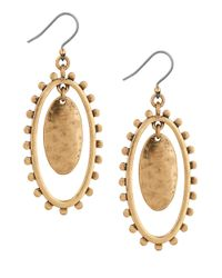 Lucky Brand - Metallic Modern Shine Bead-edged Oval Drop Earrings - Lyst