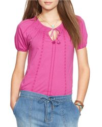 Lauren by Ralph Lauren | Pink Petite Embroidered Cotton Top | Lyst