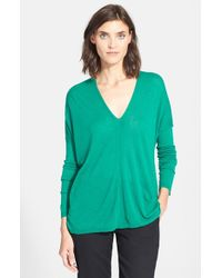 Vince - Green Double V-neck Sweater - Lyst