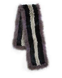 Saks Fifth Avenue Black Label - Black Rabbit Coyote Fur Scarf - Lyst