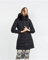 Zara | Blue Quilted Feather Coat | Lyst