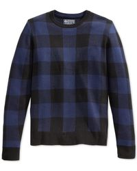 American Rag | Blue Plaid Jacquard Sweater for Men | Lyst