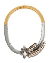 Shourouk | Metallic Aigrette Comet Gold-tone, Crystal And Sequin Necklace | Lyst