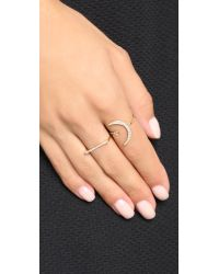 Shashi - Metallic Crescent Moon Ring - Gold/clear - Lyst