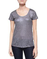 Neiman Marcus - Gray Short-sleeve Metallic Linen Top - Lyst