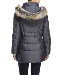 Anne Klein - Gray Faux Fur Trim Hooded Down Puffer Coat - Lyst
