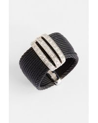 Alor | Black 3-row Diamond Bar Ring | Lyst