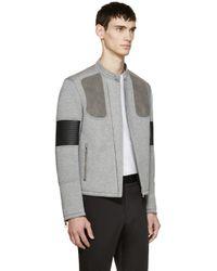 Neil Barrett - Gray Grey Neoprene Biker Jacket for Men - Lyst