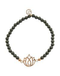 Melissa Odabash | Black Lotus Charm Round Bead Bracelet | Lyst